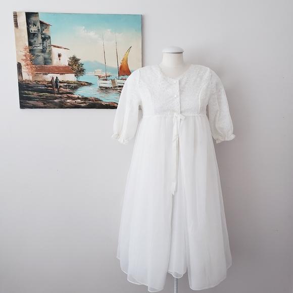 French Maid Vintage White Babydoll Peignoir Set